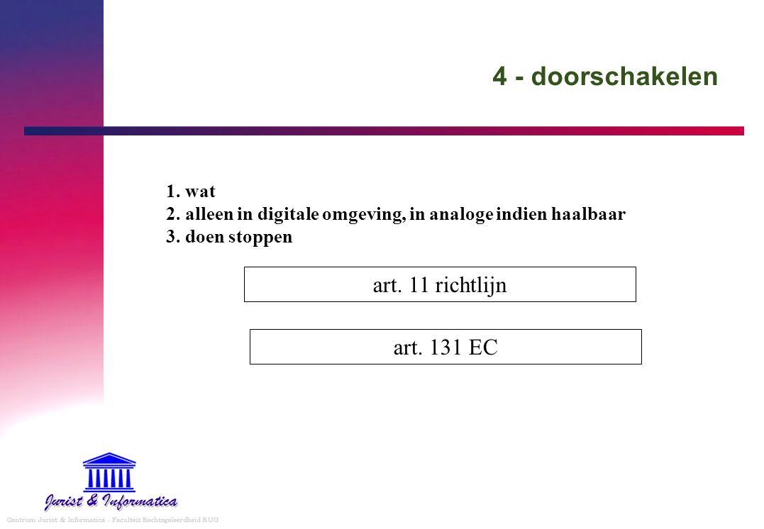 4 - doorschakelen art. 11 richtlijn 1. wat 2. alleen in digitale omgeving, in analoge indien haalbaar 3. doen stoppen art. 131 EC