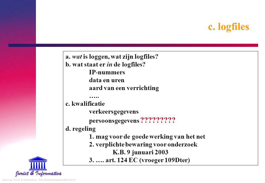 c. logfiles a. wat is loggen, wat zijn logfiles? b. wat staat er in de logfiles? IP-nummers data en uren aard van een verrichting ….. c. kwalificatie