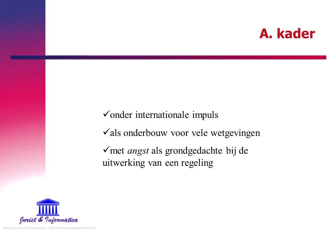A. kader onder internationale impuls als onderbouw voor vele wetgevingen met angst als grondgedachte bij de uitwerking van een regeling