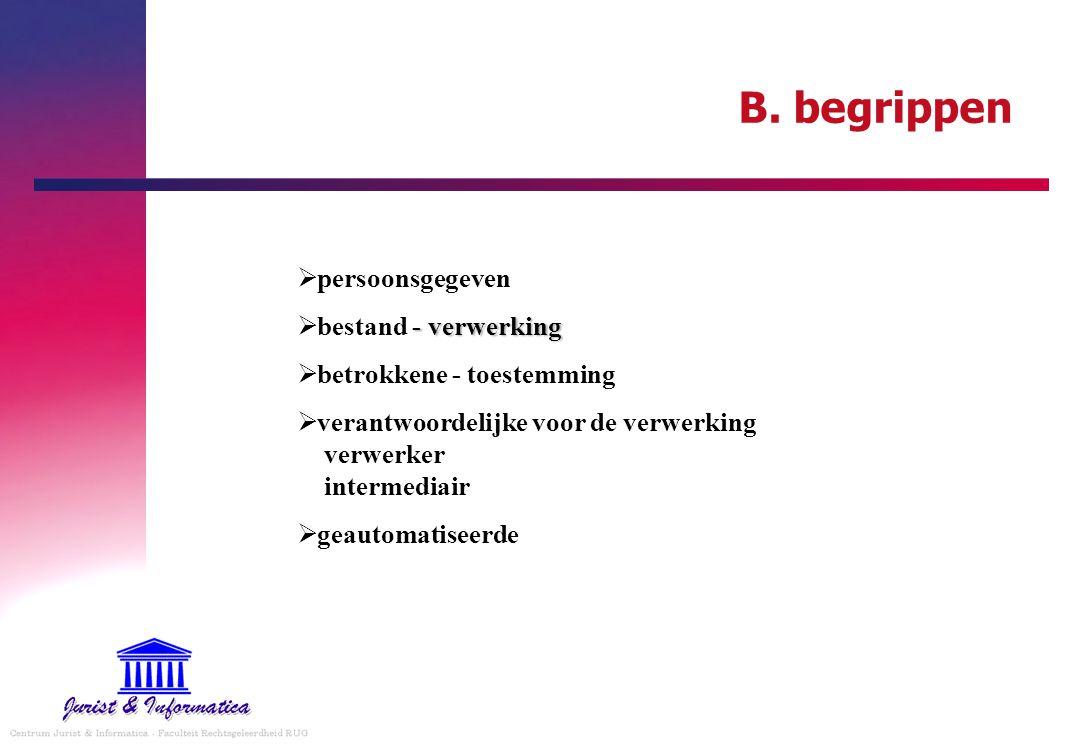 B. begrippen  persoonsgegeven - verwerking  bestand - verwerking  betrokkene - toestemming  verantwoordelijke voor de verwerking verwerker interme