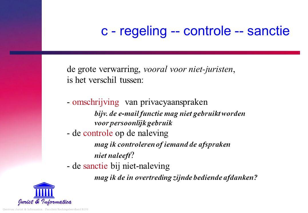 c - regeling -- controle -- sanctie de grote verwarring, vooral voor niet-juristen, is het verschil tussen: - omschrijving van privacyaanspraken bijv.