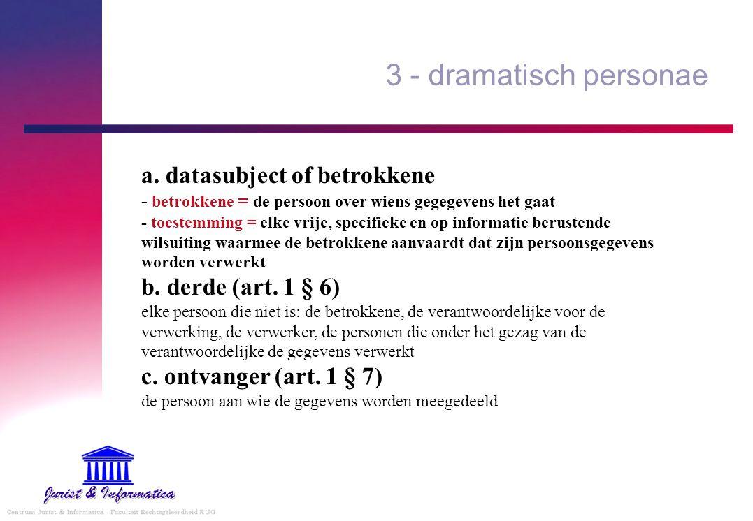 3 - dramatisch personae a. datasubject of betrokkene - betrokkene = de persoon over wiens gegegevens het gaat - toestemming = elke vrije, specifieke e