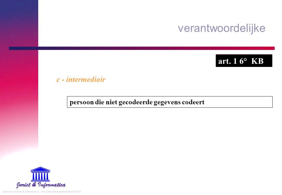 verantwoordelijke c - intermediair persoon die niet gecodeerde gegevens codeert art. 1 6° KB
