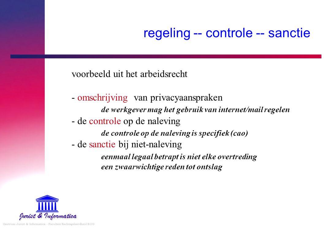 regeling -- controle -- sanctie voorbeeld uit het arbeidsrecht - omschrijving van privacyaanspraken de werkgever mag het gebruik van internet/mail reg