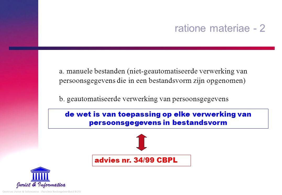 ratione materiae - 2 a. manuele bestanden (niet-geautomatiseerde verwerking van persoonsgegevens die in een bestandsvorm zijn opgenomen) b. geautomati
