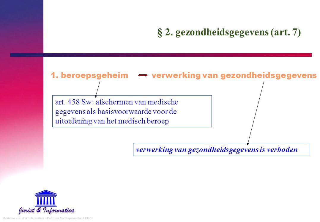 § 2. gezondheidsgegevens (art. 7) 1. beroepsgeheim verwerking van gezondheidsgegevens art. 458 Sw: afschermen van medische gegevens als basisvoorwaard