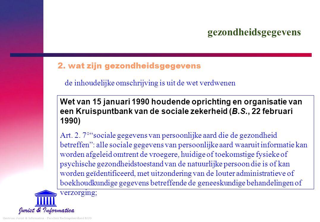 gezondheidsgegevens de inhoudelijke omschrijving is uit de wet verdwenen 2. wat zijn gezondheidsgegevens Wet van 15 januari 1990 houdende oprichting e