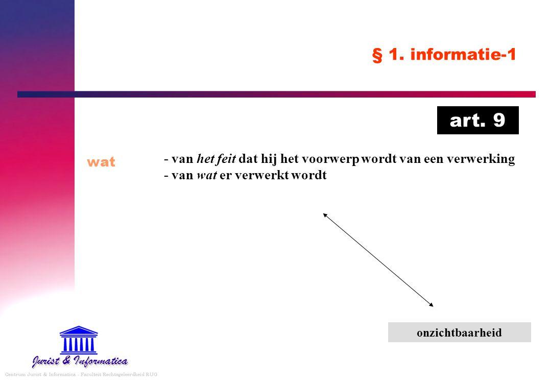 § 1. informatie-1 wat - van het feit dat hij het voorwerp wordt van een verwerking - van wat er verwerkt wordt onzichtbaarheid art. 9