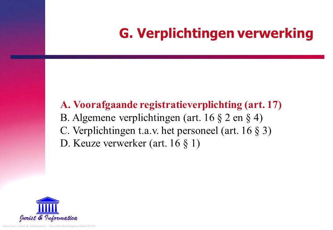 G. Verplichtingen verwerking A. Voorafgaande registratieverplichting (art. 17) B. Algemene verplichtingen (art. 16 § 2 en § 4) C. Verplichtingen t.a.v