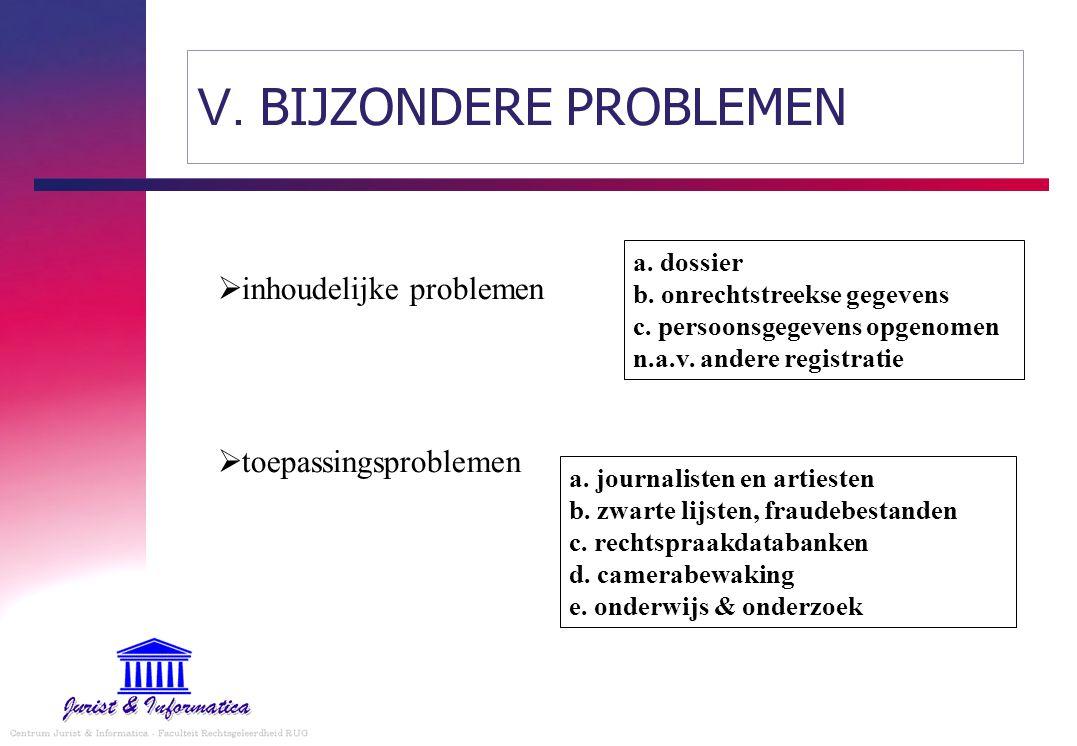  inhoudelijke problemen  toepassingsproblemen a. dossier b. onrechtstreekse gegevens c. persoonsgegevens opgenomen n.a.v. andere registratie a. jour