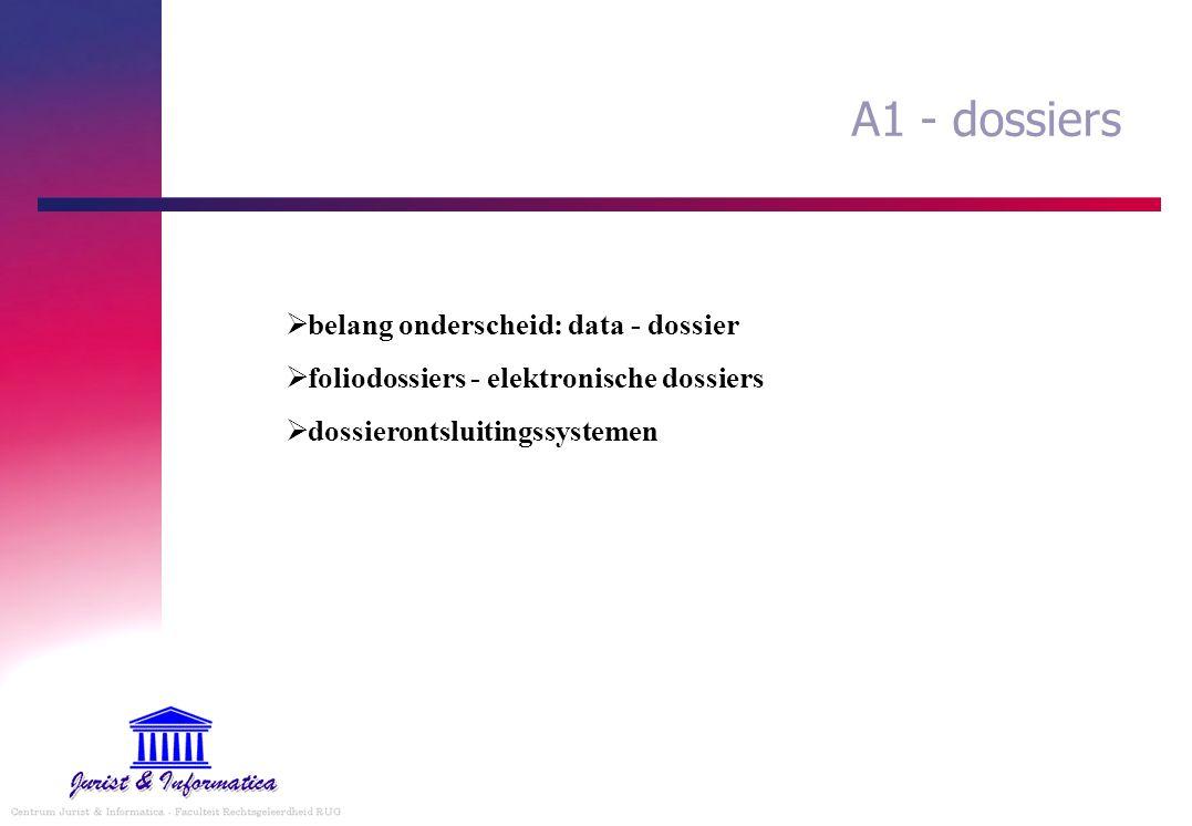 A1 - dossiers  belang onderscheid: data - dossier  foliodossiers - elektronische dossiers  dossierontsluitingssystemen