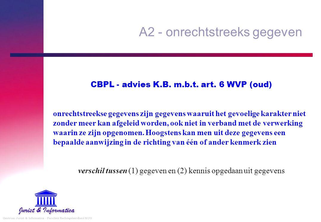 A2 - onrechtstreeks gegeven CBPL - advies K.B. m.b.t. art. 6 WVP (oud) onrechtstreekse gegevens zijn gegevens waaruit het gevoelige karakter niet zond