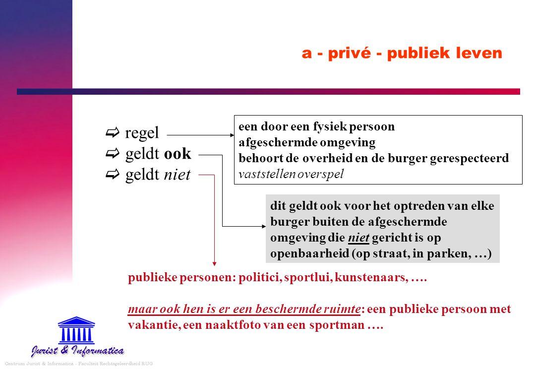 a - privé - publiek leven  regel  geldt ook  geldt niet een door een fysiek persoon afgeschermde omgeving behoort de overheid en de burger gerespec