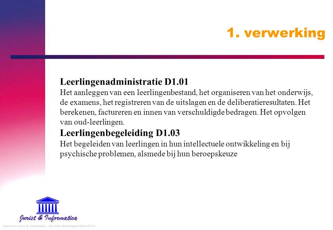 1. verwerking Leerlingenadministratie D1.01 Het aanleggen van een leerlingenbestand, het organiseren van het onderwijs, de examens, het registreren va