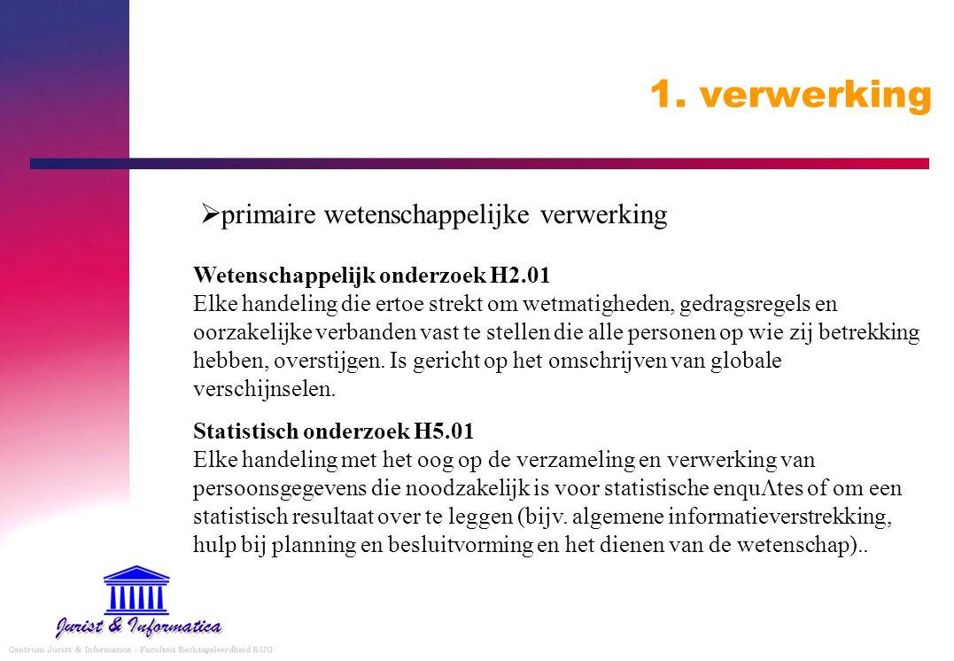 1. verwerking  primaire wetenschappelijke verwerking Wetenschappelijk onderzoek H2.01 Elke handeling die ertoe strekt om wetmatigheden, gedragsregels