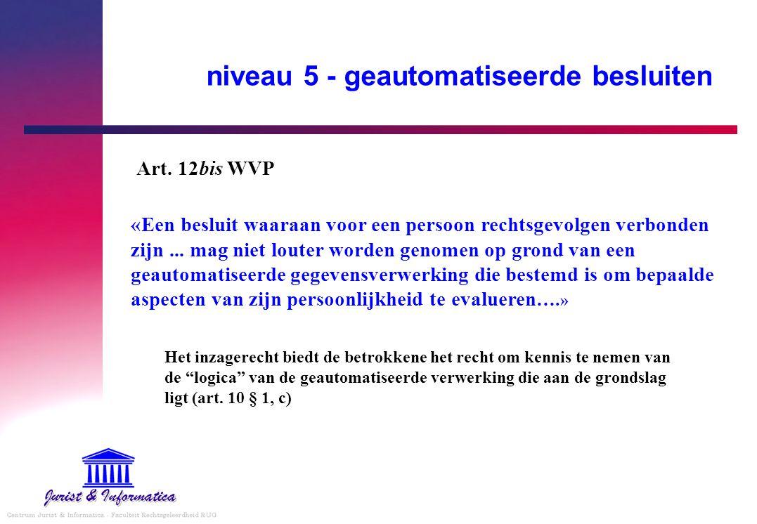 niveau 5 - geautomatiseerde besluiten «Een besluit waaraan voor een persoon rechtsgevolgen verbonden zijn... mag niet louter worden genomen op grond v