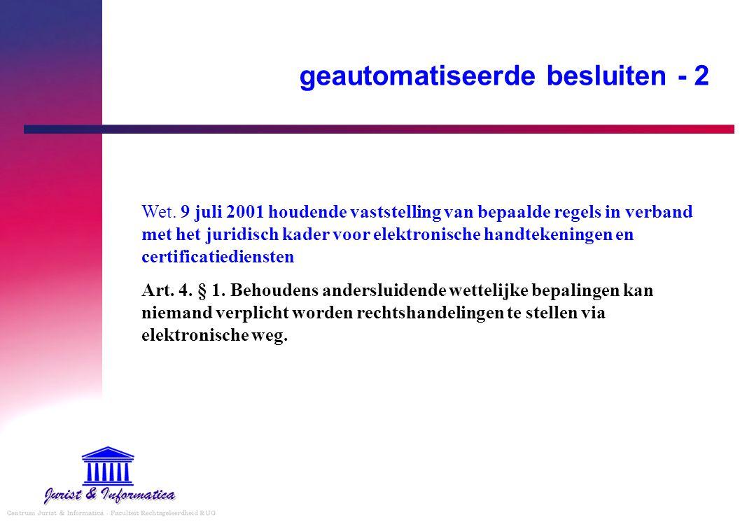 geautomatiseerde besluiten - 2 Wet. 9 juli 2001 houdende vaststelling van bepaalde regels in verband met het juridisch kader voor elektronische handte