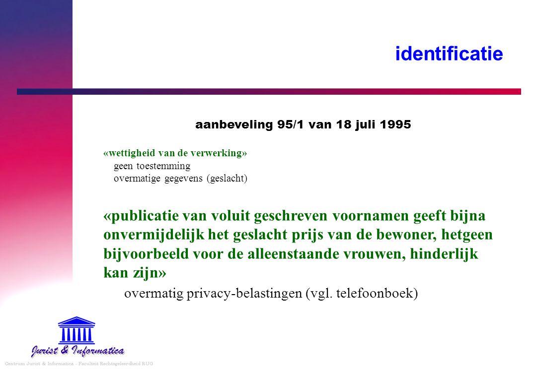 identificatie aanbeveling 95/1 van 18 juli 1995 «wettigheid van de verwerking» geen toestemming overmatige gegevens (geslacht) «publicatie van voluit