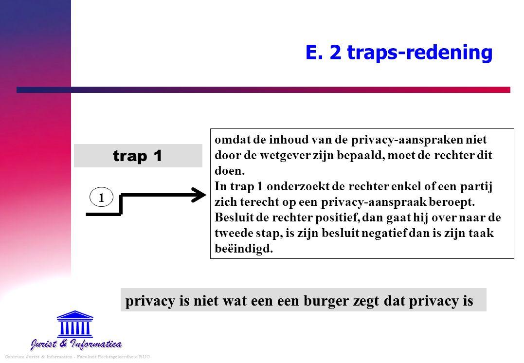 E. 2 traps-redening omdat de inhoud van de privacy-aanspraken niet door de wetgever zijn bepaald, moet de rechter dit doen. In trap 1 onderzoekt de re