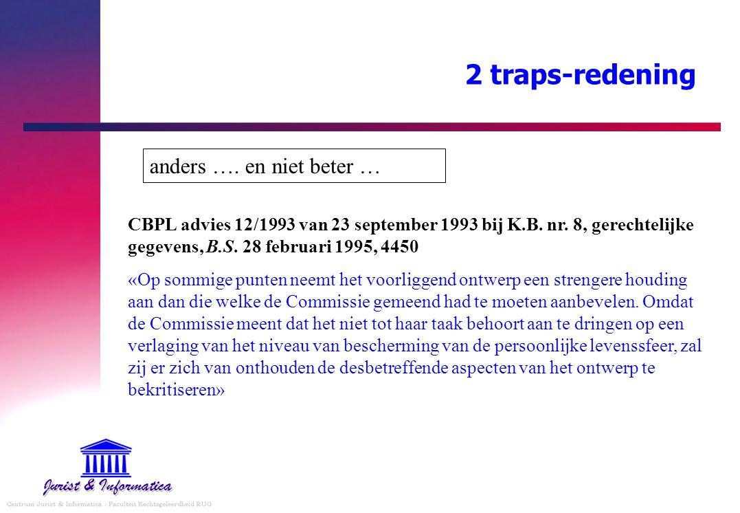 2 traps-redening CBPL advies 12/1993 van 23 september 1993 bij K.B. nr. 8, gerechtelijke gegevens, B.S. 28 februari 1995, 4450 «Op sommige punten neem