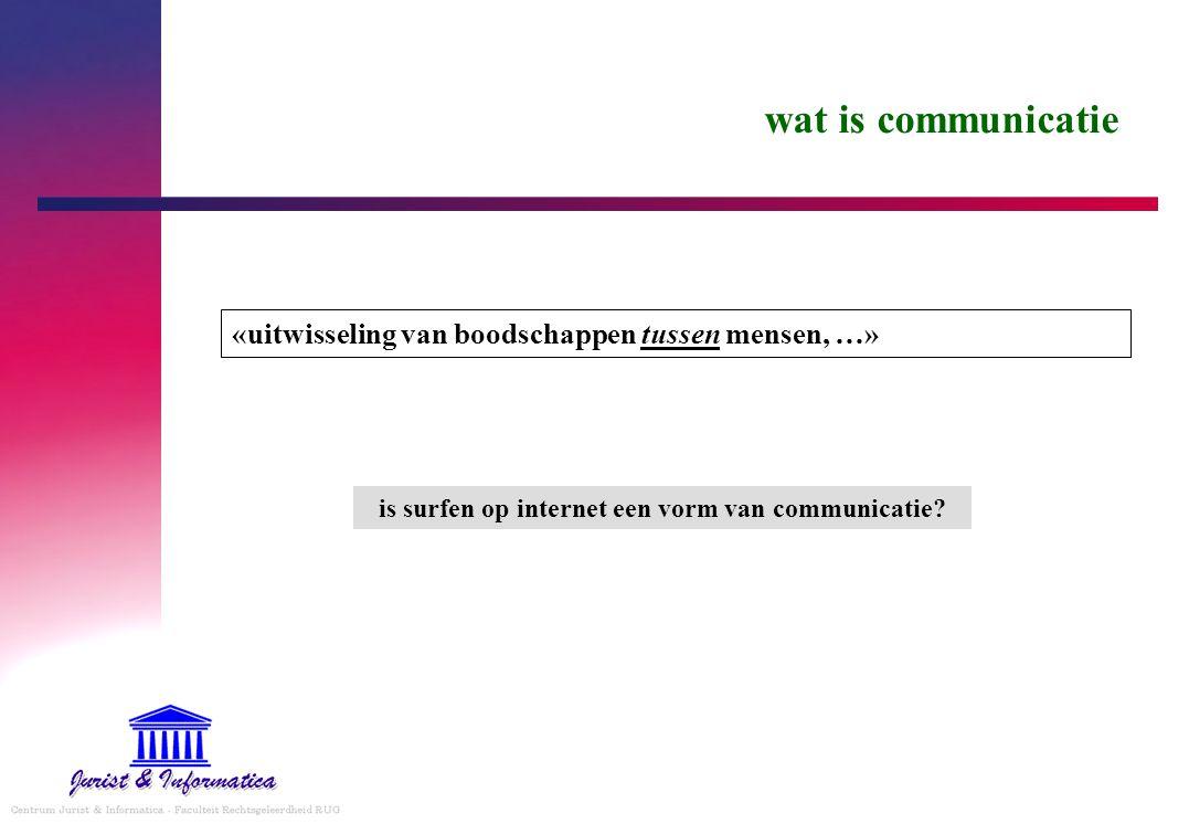 wat is communicatie «uitwisseling van boodschappen tussen mensen, …» is surfen op internet een vorm van communicatie?