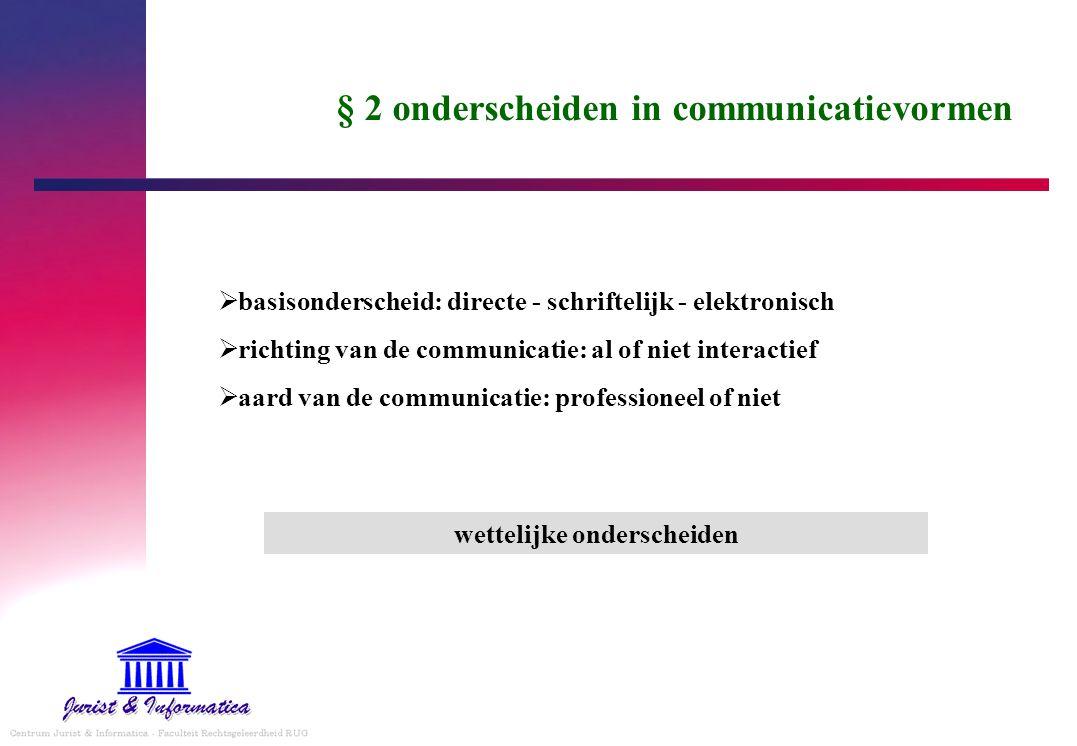 § 2 onderscheiden in communicatievormen  basisonderscheid: directe - schriftelijk - elektronisch  richting van de communicatie: al of niet interacti
