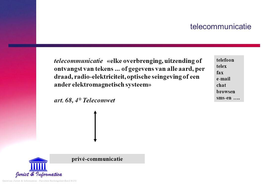 telecommunicatie «elke overbrenging, uitzending of ontvangst van tekens... of gegevens van alle aard, per draad, radio-elektriciteit, optische seingev