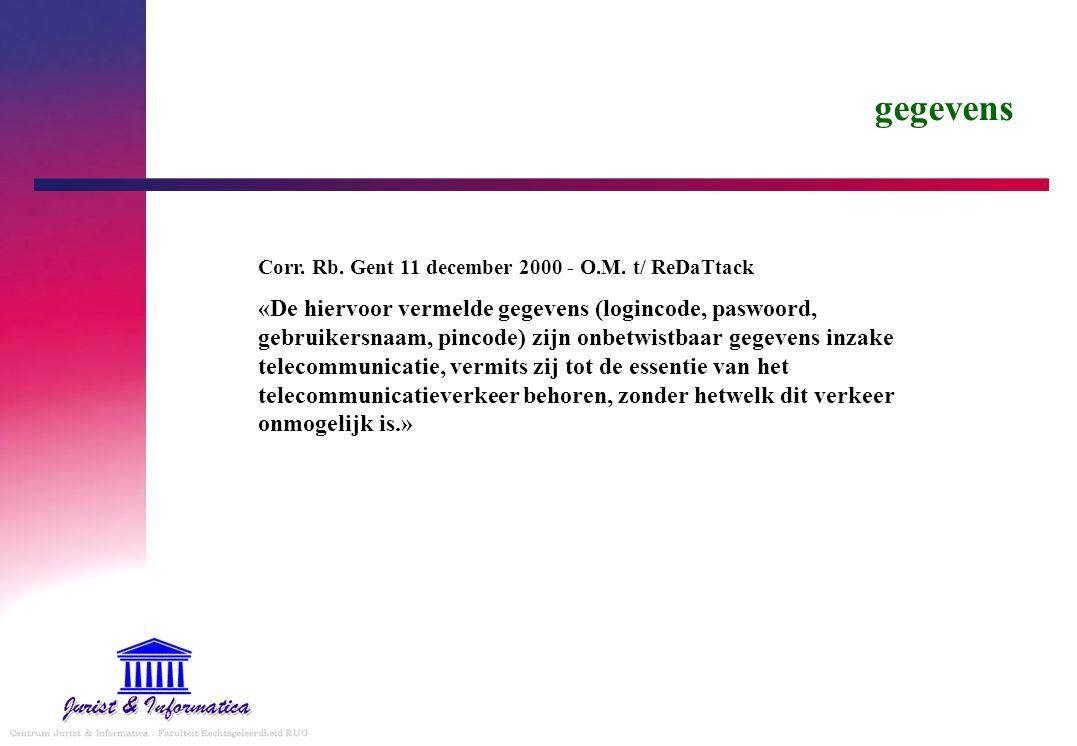 gegevens Corr. Rb. Gent 11 december 2000 - O.M. t/ ReDaTtack «De hiervoor vermelde gegevens (logincode, paswoord, gebruikersnaam, pincode) zijn onbetw
