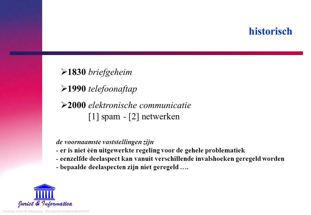 historisch  1830 briefgeheim  1990 telefoonaftap  2000 elektronische communicatie [1] spam - [2] netwerken de voornaamste vaststellingen zijn - er