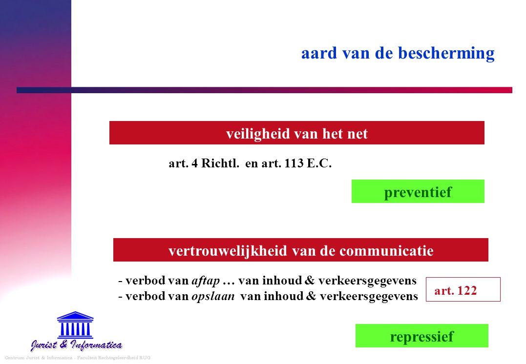 aard van de bescherming veiligheid van het net - verbod van aftap … van inhoud & verkeersgegevens - verbod van opslaan van inhoud & verkeersgegevens a