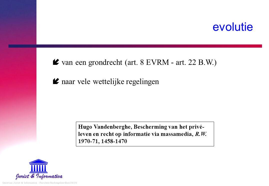 evolutie  van een grondrecht (art. 8 EVRM - art. 22 B.W.)  naar vele wettelijke regelingen Hugo Vandenberghe, Bescherming van het privé- leven en re