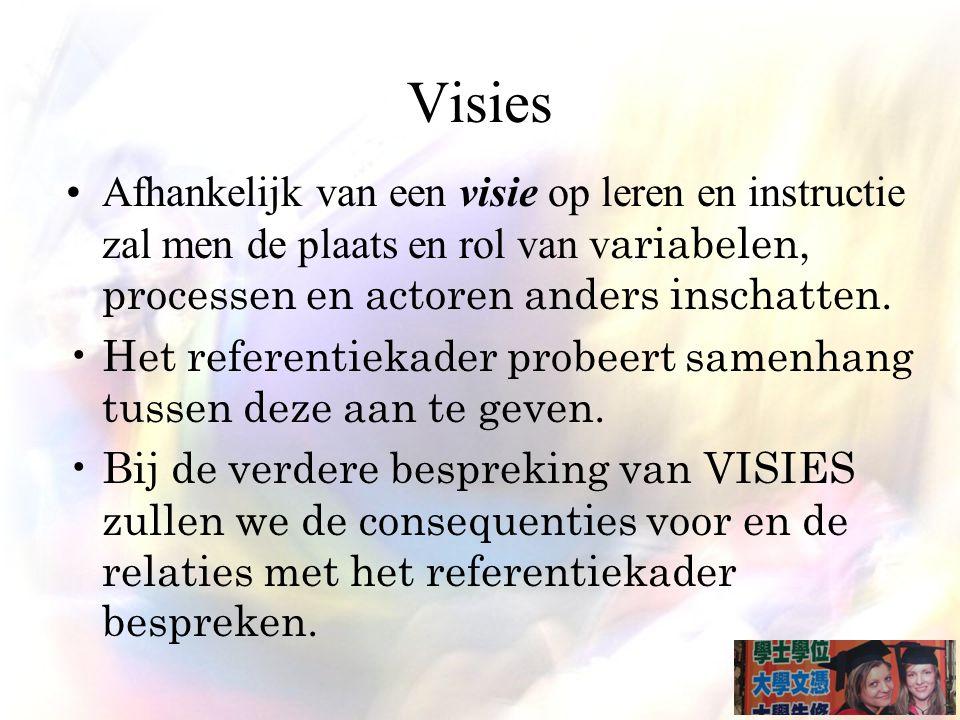 Visies Afhankelijk van een visie op leren en instructie zal men de plaats en rol van v ariabelen, processen en actoren anders inschatten.