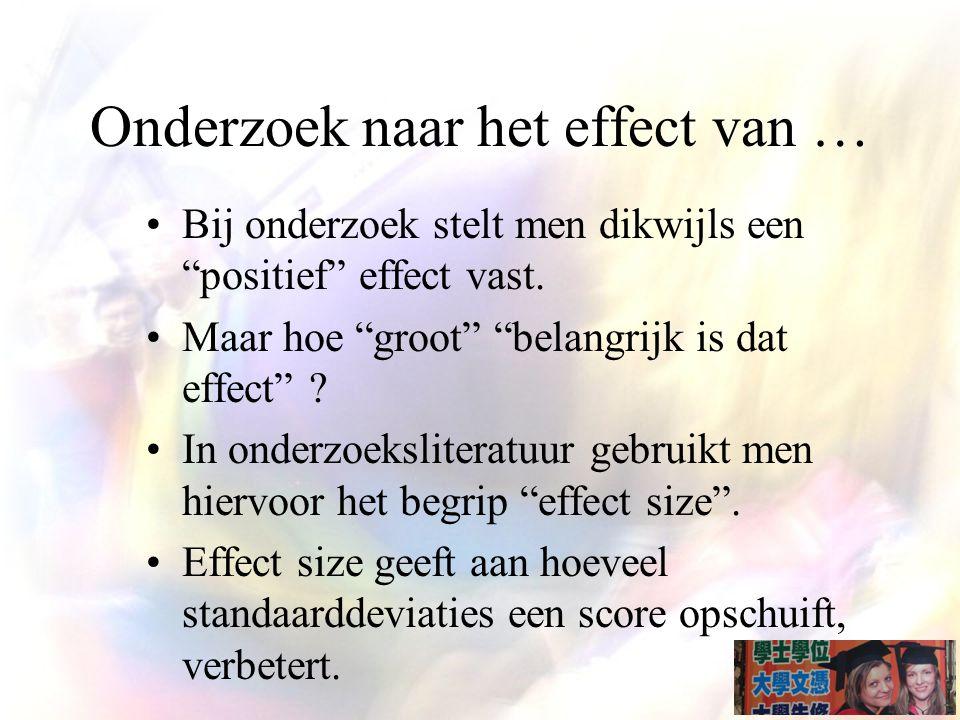 Onderzoek naar het effect van … Bij onderzoek stelt men dikwijls een positief effect vast.