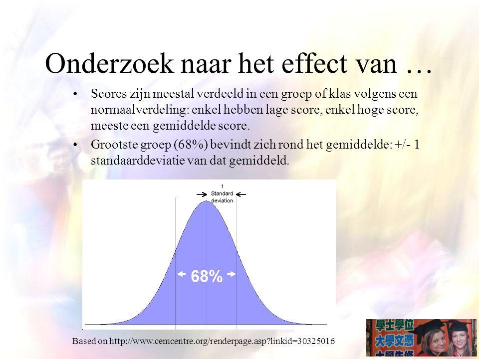 Onderzoek naar het effect van … Scores zijn meestal verdeeld in een groep of klas volgens een normaalverdeling: enkel hebben lage score, enkel hoge score, meeste een gemiddelde score.