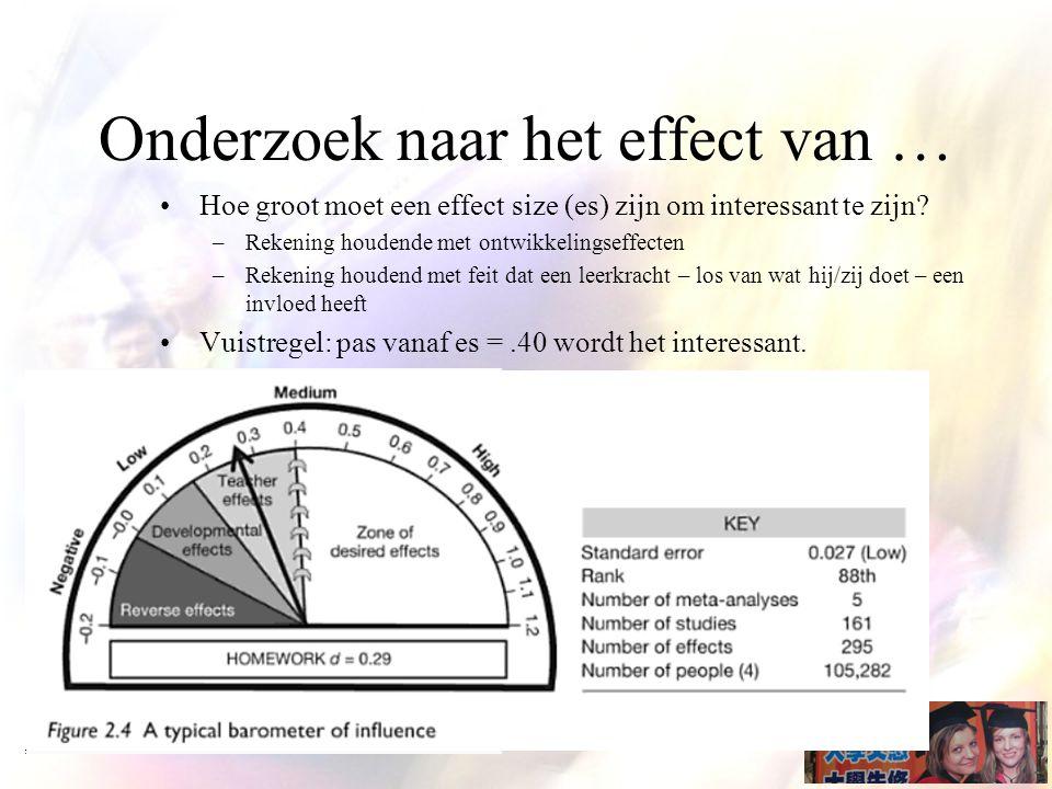 Onderzoek naar het effect van … Hoe groot moet een effect size (es) zijn om interessant te zijn.