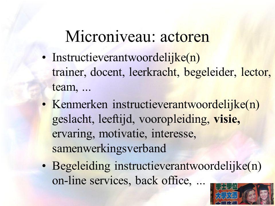 Microniveau: actoren Instructieverantwoordelijke(n) trainer, docent, leerkracht, begeleider, lector, team,...