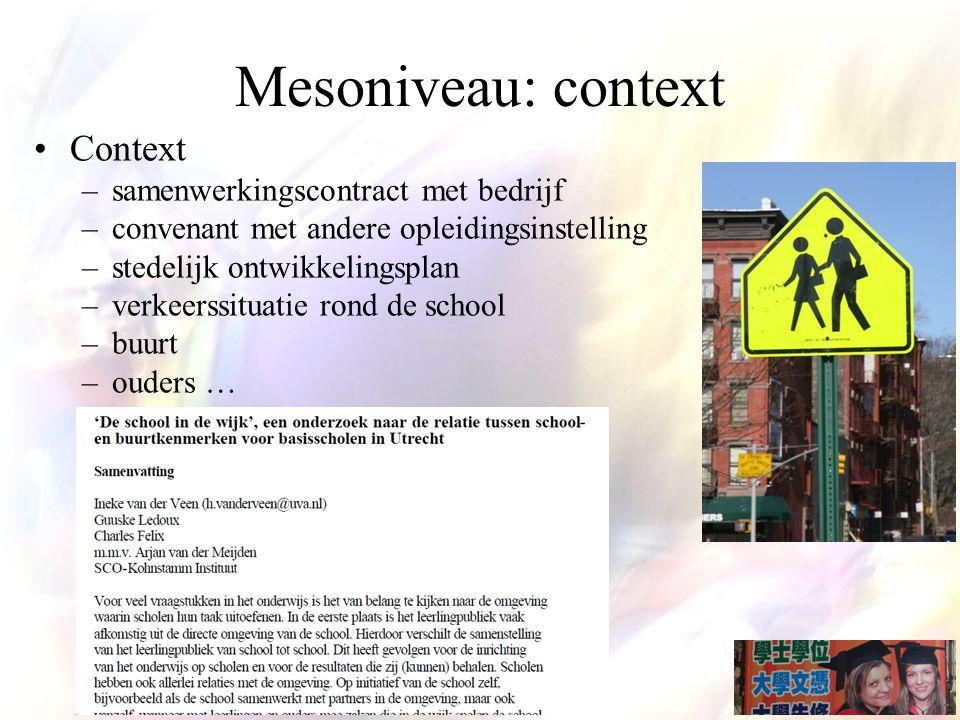 Mesoniveau: context Context –samenwerkingscontract met bedrijf –convenant met andere opleidingsinstelling –stedelijk ontwikkelingsplan –verkeerssituatie rond de school –buurt –ouders …