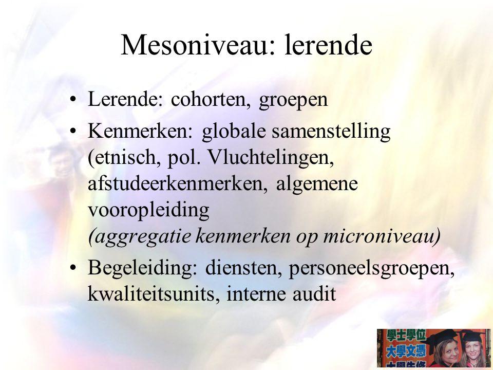 Mesoniveau: lerende Lerende: cohorten, groepen Kenmerken: globale samenstelling (etnisch, pol.