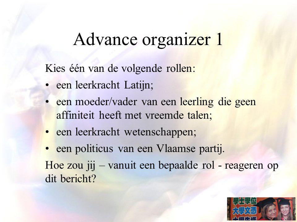 Advance organizer 1 Kies één van de volgende rollen: een leerkracht Latijn; een moeder/vader van een leerling die geen affiniteit heeft met vreemde talen; een leerkracht wetenschappen; een politicus van een Vlaamse partij.