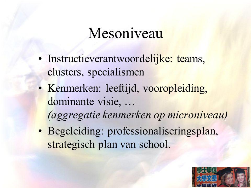 Mesoniveau Instructieverantwoordelijke: teams, clusters, specialismen Kenmerken: leeftijd, vooropleiding, dominante visie, … (aggregatie kenmerken op microniveau) Begeleiding: professionaliseringsplan, strategisch plan van school.