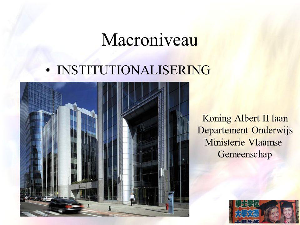INSTITUTIONALISERING Koning Albert II laan Departement Onderwijs Ministerie Vlaamse Gemeenschap