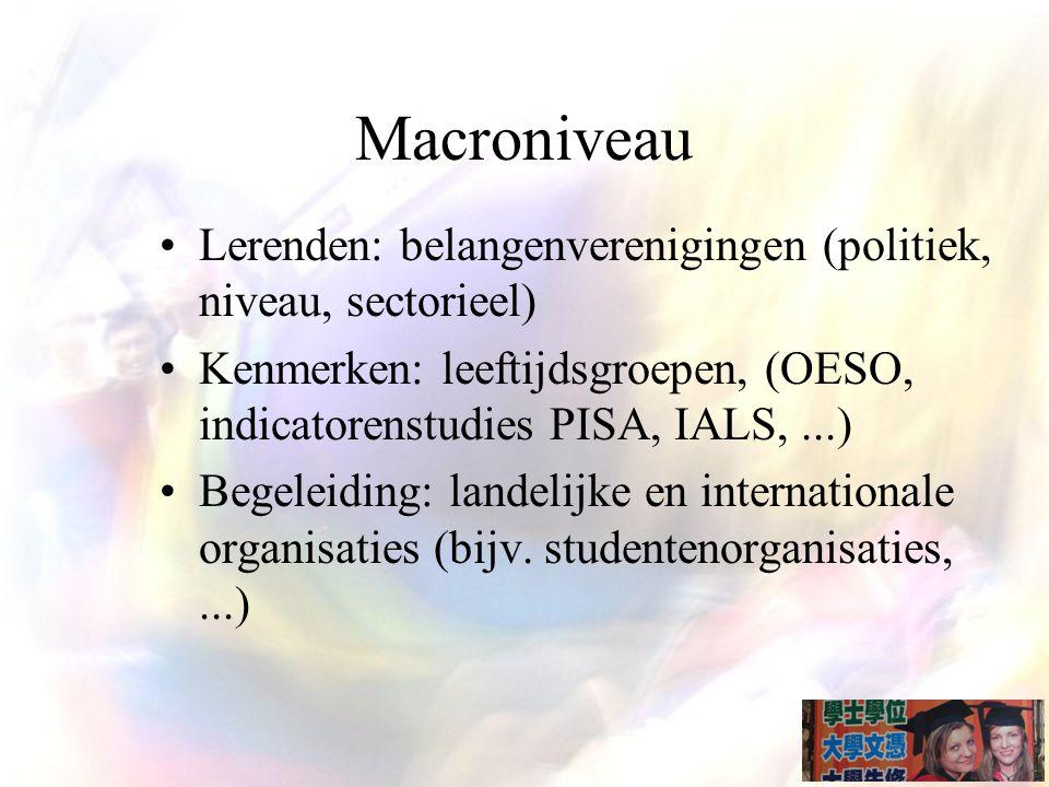 Macroniveau Lerenden: belangenverenigingen (politiek, niveau, sectorieel) Kenmerken: leeftijdsgroepen, (OESO, indicatorenstudies PISA, IALS,...) Begeleiding: landelijke en internationale organisaties (bijv.