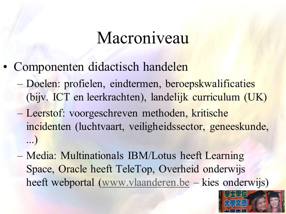 Macroniveau Componenten didactisch handelen –Doelen: profielen, eindtermen, beroepskwalificaties (bijv.