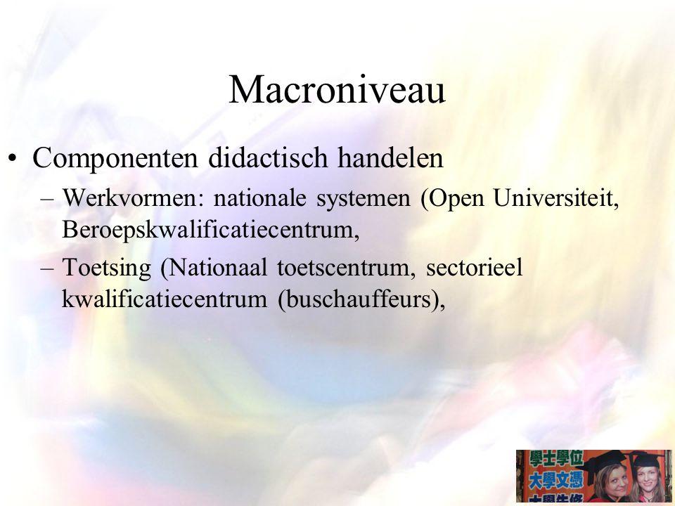 Macroniveau Componenten didactisch handelen –Werkvormen: nationale systemen (Open Universiteit, Beroepskwalificatiecentrum, –Toetsing (Nationaal toetscentrum, sectorieel kwalificatiecentrum (buschauffeurs),