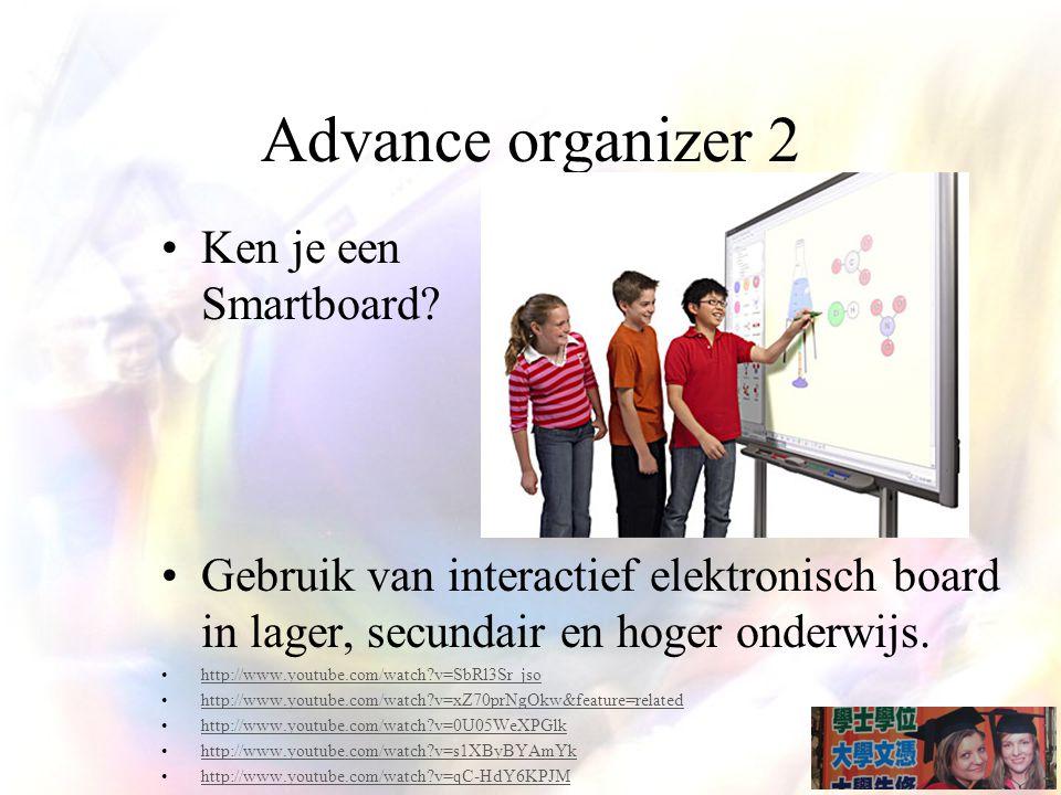 Advance organizer 2 Ken je een Smartboard.
