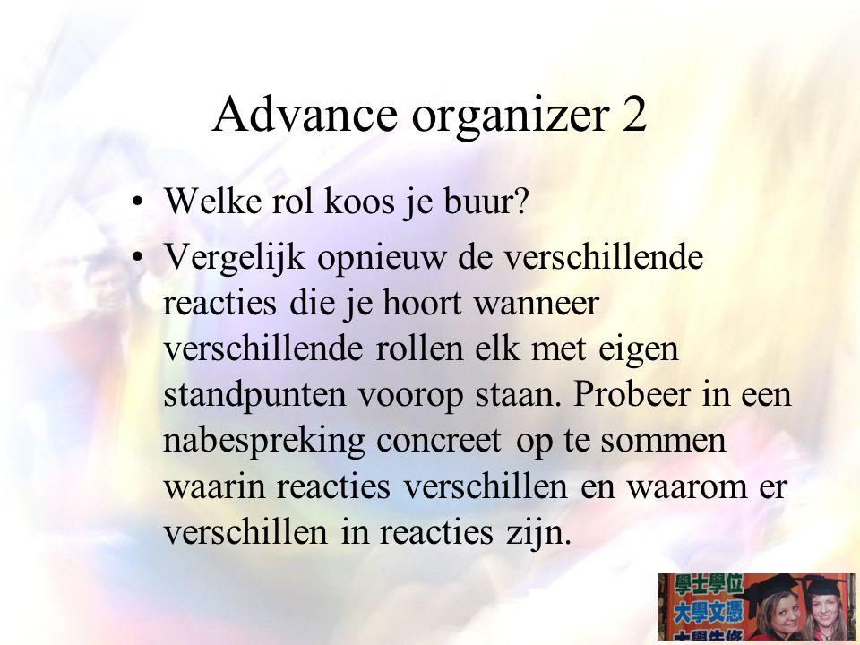 Advance organizer 2 Welke rol koos je buur.