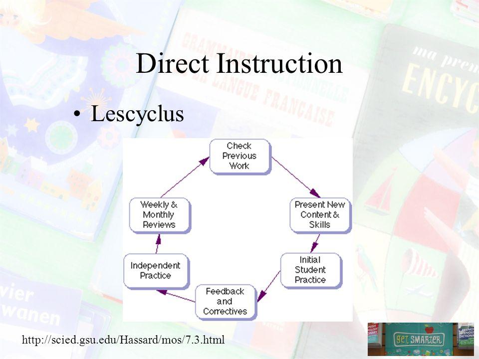 Direct Instruction Lescyclus http://scied.gsu.edu/Hassard/mos/7.3.html
