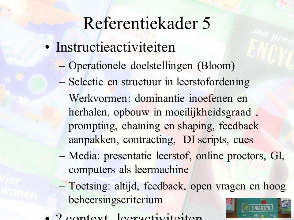 Referentiekader 5 Instructieactiviteiten –Operationele doelstellingen (Bloom) –Selectie en structuur in leerstofordening –Werkvormen: dominantie inoefenen en herhalen, opbouw in moeilijkheidsgraad, prompting, chaining en shaping, feedback aanpakken, contracting, DI scripts, cues –Media: presentatie leerstof, online proctors, GI, computers als leermachine –Toetsing: altijd, feedback, open vragen en hoog beheersingscriterium .