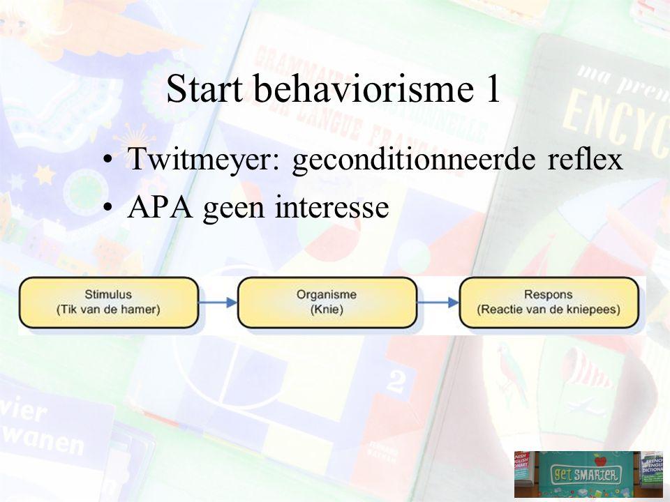 Start behaviorisme 1 Twitmeyer: geconditionneerde reflex APA geen interesse