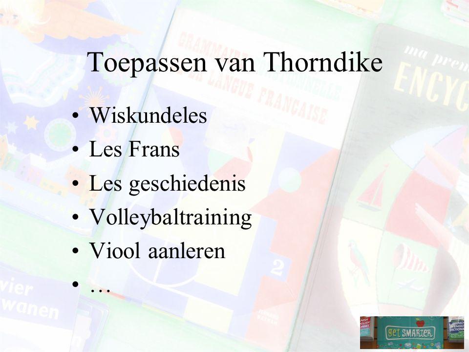 Toepassen van Thorndike Wiskundeles Les Frans Les geschiedenis Volleybaltraining Viool aanleren …